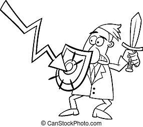 économique, crise, illustration, dessin animé