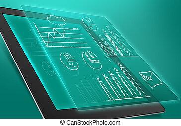 économique, illustration, tablette, graphiques