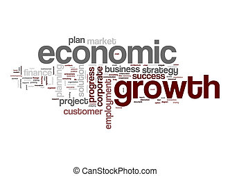 économique, mot, nuage, croissance