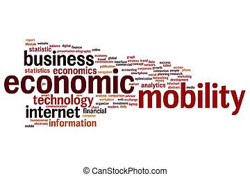 économique, mot, nuage, mobilité