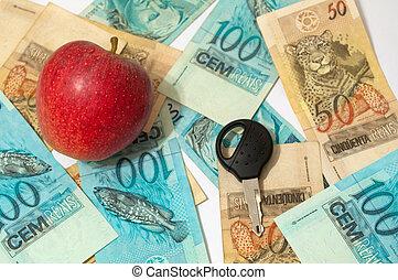 économique, vente, pommes, activité