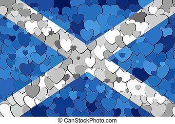 écossais, drapeau, fond, cœurs, fait