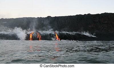 écoulement, atteindre, lave, île, océan, hawaï, volcan, ...