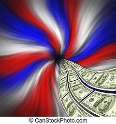écoulement, devise américaine, pour, financier, stimulus