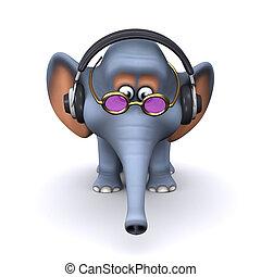 écoute, 3d, écouteurs, éléphant