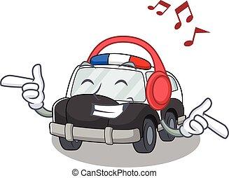 écoute, caractère, voiture, musique, police, dessin animé, concept