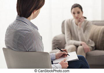 écoute, elle, patient, psychologue