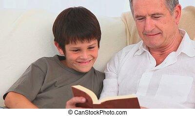 écoute, grand-père, sien, enfant