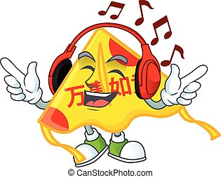 écoute, mascotte, caractère, chinois, conception, musique, dessin animé, cerf volant, or