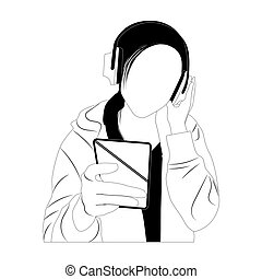 écoute, musique, simplifié, femme, style