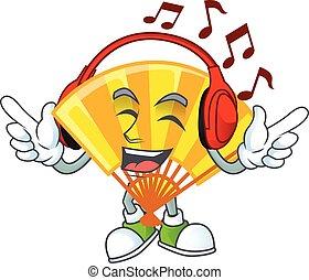 écoute, plier, mascotte, ventilateur, caractère, chinois, conception, musique, dessin animé, or