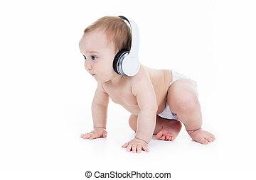 écoute, séance, isolé, jeune, fond, bébé, blanc