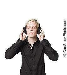 écouter, écouteurs, musique, homme