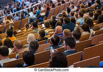 écouter, conférence, attendees, asseoir, business