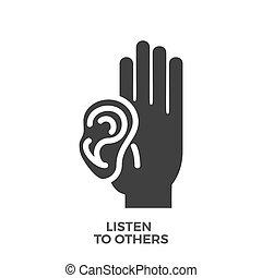 écouter, icon., vecteur, glyph, autres