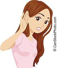 écouter, illustration, girl, entendre, adolescent, oreille