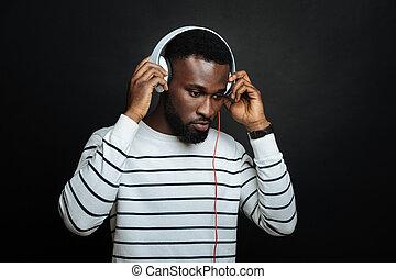 écouteurs, américain, intéressé, studio, africaine, ...
