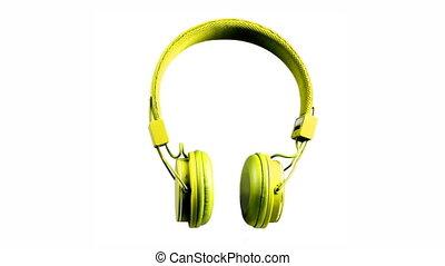 écouteurs, autour de, regarder, rotation, stylee, audio, ...