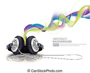 écouteurs, coloré, vagues