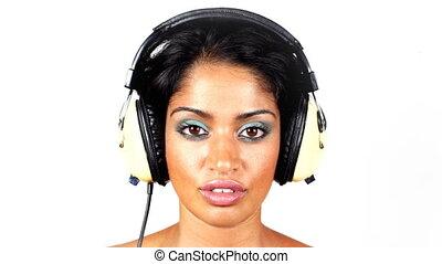 écouteurs, coup, très, intéressant, femme, disco, retro, ...