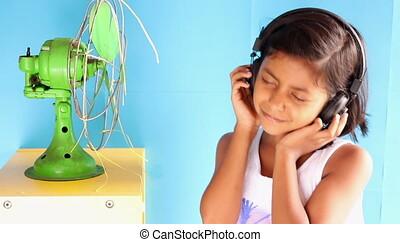 écouteurs, elle, danse, girl, heureusement, été, beauté, musique