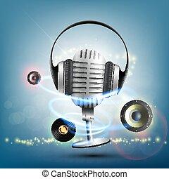 écouteurs, enregistrement, musique, vinyle, fond, microphone., retro