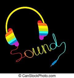 écouteurs, forme, card., sound., corde, musique, arc-en-ciel, mot