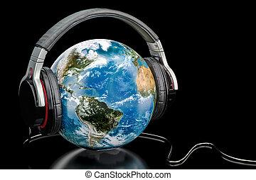 écouteurs, globe, sans fil, rendre, musique, la terre, mondiale, concept., 3d