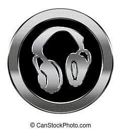 écouteurs, isolé, arrière-plan., argent, blanc, icône