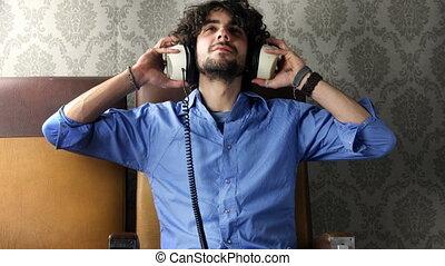 écouteurs, musique écouter, homme
