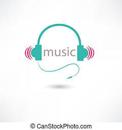 écouteurs, musique, coloré