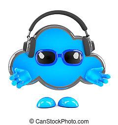 écouteurs, nuage, 3d