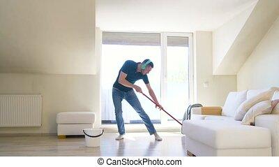 écouteurs, plancher, lavette, nettoyage, maison, homme