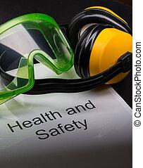 écouteurs, sécurité, registre, santé, lunettes protectrices