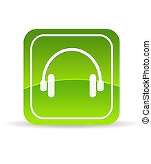écouteurs, vert, icône