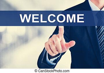 écran, accueil, virtuel, signe, toucher, homme affaires, main