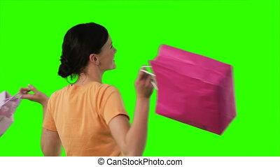 écran, achats femme, vert