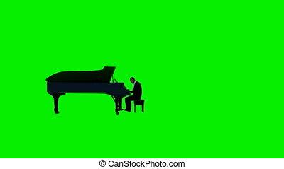 écran, américain, vert, interprète, piano, afro