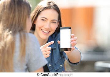 écran, ami, elle, téléphone, girl, spectacles, blak