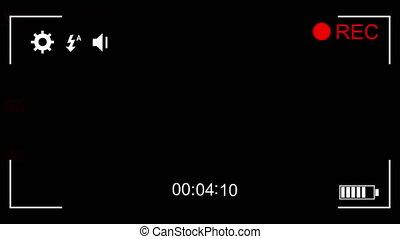 écran, animation, appareil photo, fond, noir