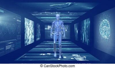 écran, animation, marche, homme, couloir, scientifique, 3d