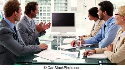 écran, applaudir, equipe affaires