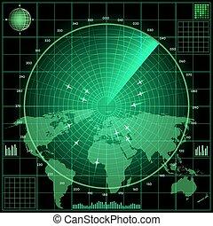écran, avions, radar
