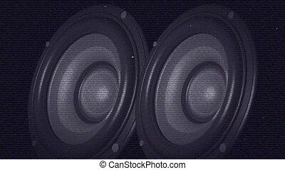 écran, basse, bandes, projection, orateur, interférence,...