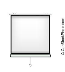 écran, blanc, illustration, projecteur