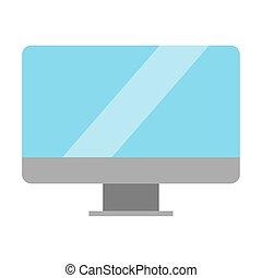 écran, blanc, moniteur, fond, isolé
