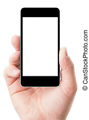 écran blanc, smartphone, main