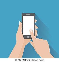 écran blanc, smartphone, tenant main