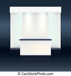 écran bleu, illumination., exposition, stand