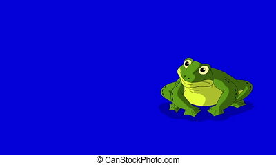 écran bleu, isolé, grenouille, sauter, coasser